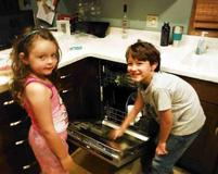 Children Obtaining Bacterial Sample from Dirty Dishwasher